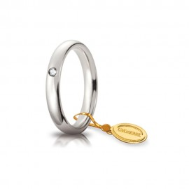 Fede Unoaerre in oro bianco, modello Comoda con brillante da ct 0.03, lucida 35AFC1 larghezza fascia 3,5 mm unisex