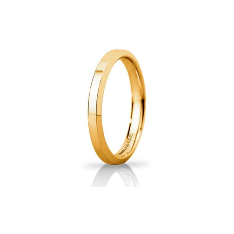 Fede Unoaerre in oro giallo modello Hydra Slim lucida larghezza fascia 3mm