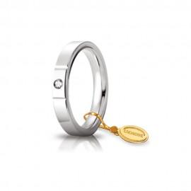Fede Unoaerre in oro modello Cerchio di luce con brillante da ct 0,05 lucida 35AFC2 larghezza fascia 3,50 mm unisex