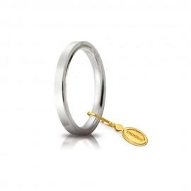 Fede Unoaerre in oro bianco, modello Cerchio di luce lucida 25AFC2 larghezza fascia 2,50 mm
