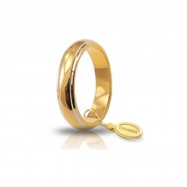 White and yellow gold 18 Kt 750/1000 unoaerre classic wedding ring