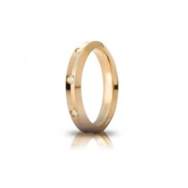 Yellow gold 18Kt 750/1000 Unoaerre Corona with 8 diamond da ct 0,02 shiny unisex wedding ring