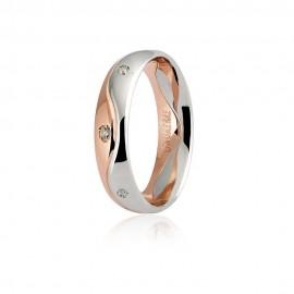 Fede Unoaerre in oro bianco e rosa, modello Galassia con 8 brillanti lucida larghezza fascia 5mm unisex