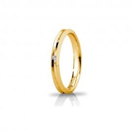 Fede Unoaerre in oro giallo, modello Corona Slim, con brillante da ct 0,01, lucida - larghezza fascia 4mm unisex