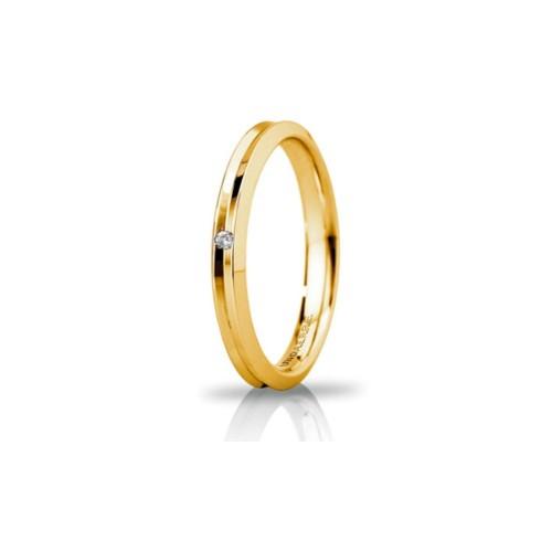Yellow gold 18 Kt 750/1000 Unoaerre Corona slim unisex wedding ring