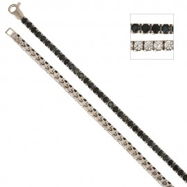 White gold 18Kt 750/1000 with black and white cubic zirconia Tennis type bracelet