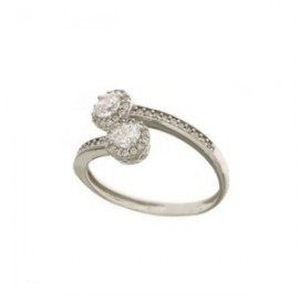 white gold 18k 750/1000 with white cubic zirconia contrariè woman ring