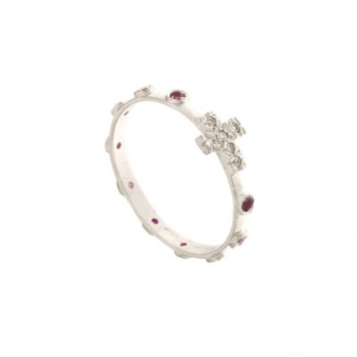 White gold 18kt 750/1000 with red and white cubic zirconia rosary ring