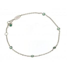 Bracciale in oro bianco 18kt 750/1000 con zirconi verdi incastonati unisex