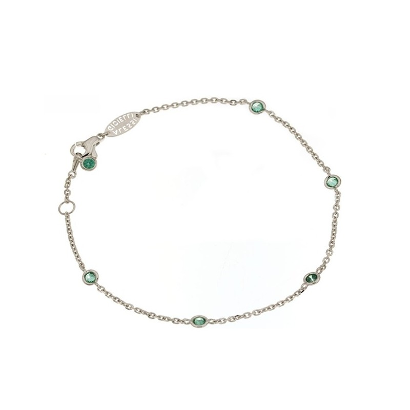 White gold 18kt 750/1000 with green cubic zirconia unisex bracelet