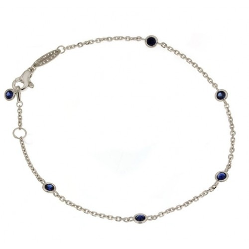 White gold 18kt 750/1000 with blue cubic zirconia unisex bracelet