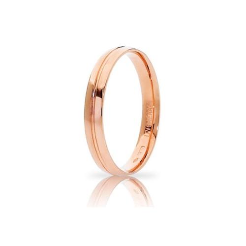 Fede Unoaerre in oro rosa, modello Lyra, lucida - larghezza fascia 3,50 mm unisex