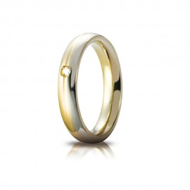 White and yellow gold 18Kt 750/1000 classic unoaerre with diamond shiny wedding ring