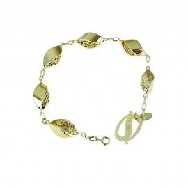 Bracciale oro giallo 18Kt 750/1000 a catena con elementi traforati lucido da donna