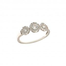 White gold 18 Kt 750/1000 with white cubic zirconia trilogy ring