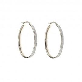 Orecchini a cerchio in oro bianco 18 Kt 750/1000 diamantati da donna