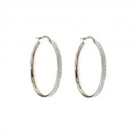 White gold 18 Kt 750/1000 diamond cut hoop woman earrings