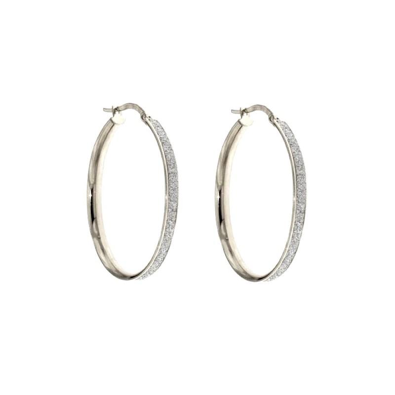 White gold 18 Kt 750/1000 diamond cut hoop woman earrings