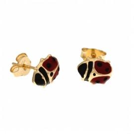 Orecchini in oro giallo 18Kt 750/1000 a forma di coccinella smaltati