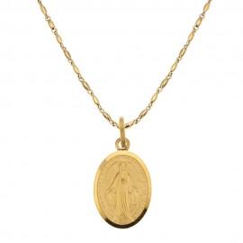 Collana in oro giallo 18 Kt 750/1000 con Madonna Miracolosa da uomo