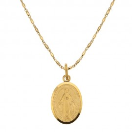 Yellow gold 18K 750/1000 with Virgin Mary pendant, man necklace
