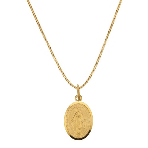 Yellow gold 18K 750/1000 with Virgin Mary pendant, unisex necklace