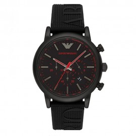 Stainless Steel and Black Silicone Emporio Armani Watch for Men