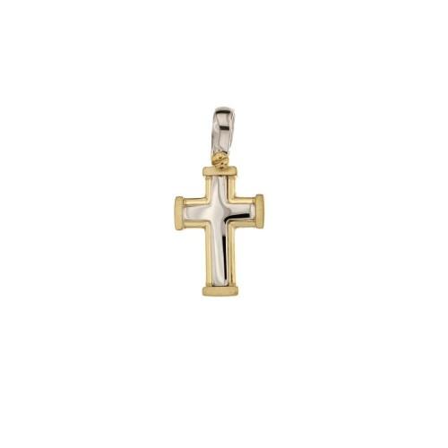 Croce in oro giallo e bianco 18 Kt 750/1000 lucida da uomo