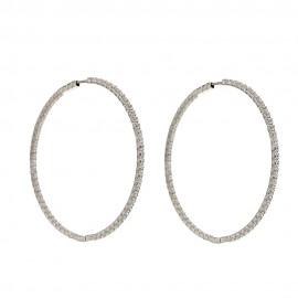 Orecchini a cerchio in oro bianco 18 Kt 750/1000 con zirconi bianchi da donna
