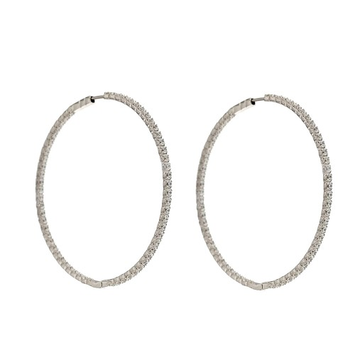 White gold 18k 750/1000 with cubic zirconia hoops woman earrings