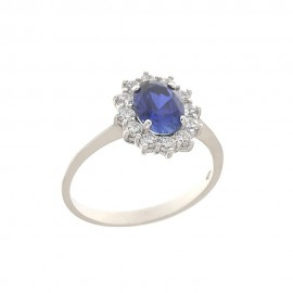 White gold 18kt 750/1000 with blue and white cubic zirconia woman ring
