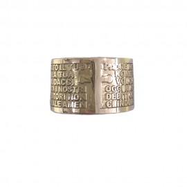 Anello in oro bianco 18 Kt 750/1000 con preghiera PADRE NOSTRO in rilievo