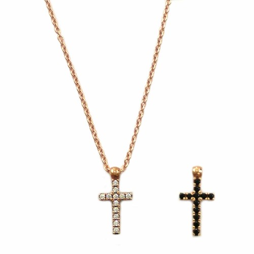 Rose gold 18k 750/1000 double-face cross with white and black zirconia