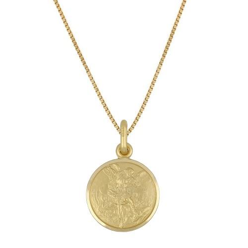 Collana in oro giallo 18 Kt 750/1000 con medaglia di San Michele