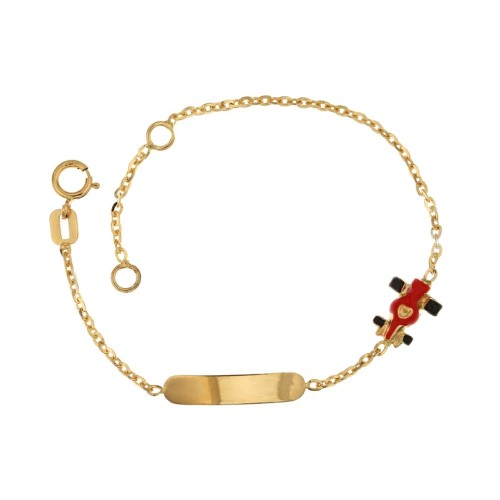 Yellow gold 18 Kt 750/1000 children bracelet with red enamelled car