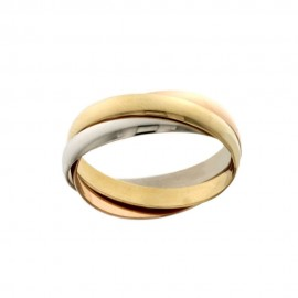 White, yellow and rose gold 18k 750/1000 Three interlaced rings