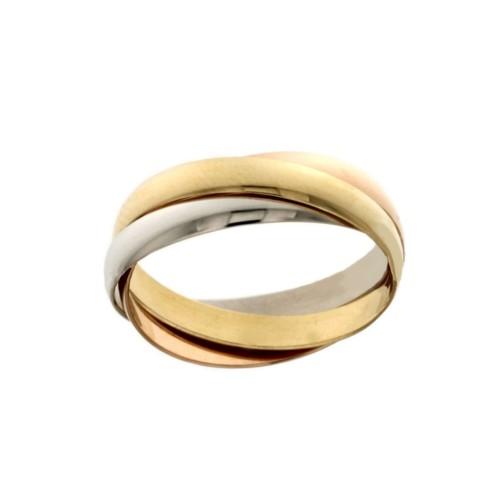 Tre anelli intrecciati in oro bianco, giallo e rosa 18k 750/1000