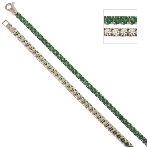 White gold 18Kt 750/1000 with green and white cubic zirconia Tennis type bracelet