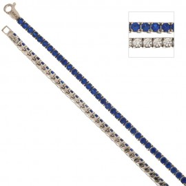 White gold 18Kt 750/1000 with blue and white cubic zirconia Tennis type bracelet
