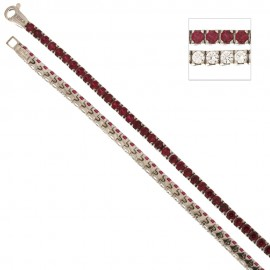 White gold 18Kt tennis bracelet with red and white cubic zirconia