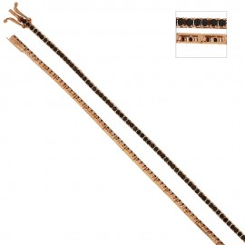 Rose gold 18k 750/1000 with black cubic zirconia Tennis unisex bracelet