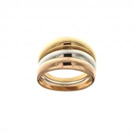 Anello Trittico in oro giallo, bianco e rosa 18 Kt 750/1000 lucido da donna