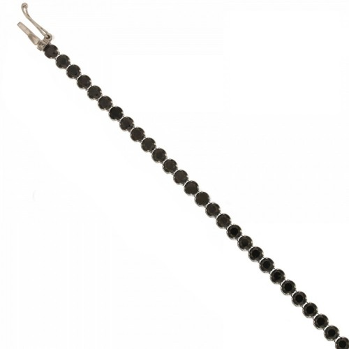 Bracciale in oro bianco 18kt 750/1000 con pietre nere da uomo 20cm