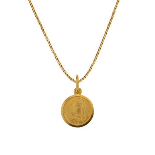 Yellow gold 18 K 750/1000 with Virgin Mary pendant woman necklace